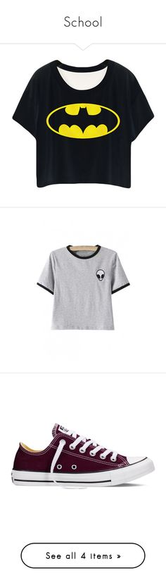 """School"" by ejenjensen ❤ liked on Polyvore featuring tops, t-shirts, shirts, crop tops, black, cartoon character t shirts, shirt top, comic tees, cartoon character shirts and embroidered t shirts"