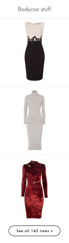 """""""Bodycon stuff"""" by shulamithbond on Polyvore featuring dresses, floral dresses, long-sleeve shift dresses, lace maxi dress, lace midi dress, sleeve maxi dress, white turtleneck, turtleneck midi dress, jersey dress and white dress"""