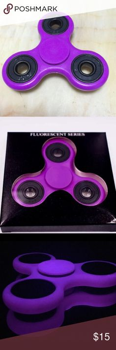 Purple Glow in the dark Fidget spinner - NEW Brand new PURPLE glow in the dark Fidget spinner, same day shipping on purchases completed prior to 6pm CST, thanks for looking Other