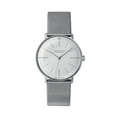 Model Junghans Max Bill Hand Winding Manual Stainless Steel Silver Dial Mens Watch 027/3004.44 Features Swiss made, manual, 34mm, stainless steel, silver dial, sapphire crystal glass, steel bracelet, folding clasp, 2 year warranty. Style number: 027/3004.44