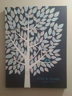 Wishwik Multi Wedding Tree Canvas | Guest Book Alternative | Signed Peachwik Tree | Modern Wedding | Customer Photo | Wedding Color - Teal | peachwik.com