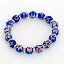 """Blue color """"Murano glass"""" round 8 mm beads and silver tone with rhine... Lot 359"""