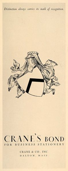 1931 Ad Crane's Bond Shield Armor Illustration Dalton