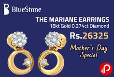 Bluestone brings THE MARIANE #EARRINGS 18kt Gold 0.274ct #Diamond at a price of Rs.26325. Total Weight 0.274 Ct, Total No. Of Diamonds 16, Type 18Kt Yellow Gold, Weight (Approx) 2.378 gms.  http://www.paisebachaoindia.com/the-mariane-earrings-18kt-gold-0-274ct-diamond-at-rs-26325-bluestone/