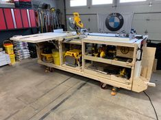 diy table saw stand Workbench Plans Diy, Table Saw Workbench, Mobile Workbench, Woodworking Bench Plans, Woodworking Shop, Woodworking Projects, Rolling Workbench, Garage Workbench, Welding Projects
