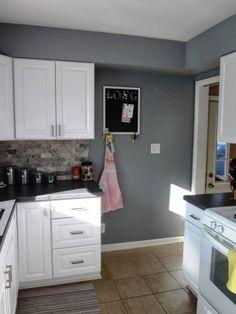 Kitchen Update: New Paint (Stone Mason Gray paint by Valspar)