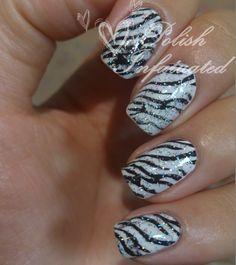 Zebra nails I love zebra print its so awesome!!!!