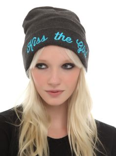"Charcoal heather beanie from The Little Mermaid with embroidered ""Kiss the Girl"" design."