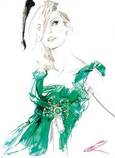 """Model Linda Evangelista, Paris 2004"" by English fashion illustrator DAVID DOWNTON"