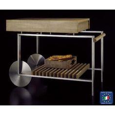 Carrello cucina Piano di lavoro in massello di rovere dogato, due cassetti attrezzati