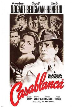 Casablanca, starring Humphrey Bogart and Ingrid Bergman, with Paul Henreid and Peter Lorre. One of my favorite movies. Old Movies, Vintage Movies, Great Movies, Vintage Posters, 1940s Movies, Vintage Gifts, Beau Film, Ingrid Bergman, Classic Movie Posters