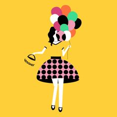 Digital Illustration. By Madeleine Sharman @instagram.com/madlinesdesign/ Inspired by Liquorice Allsorts. Used my pattern design for the skirt. Turned into a quick gif.  #digitalart #Illustration #digitalIllustration #design #patterns #patterndesign #colour #quickart #balloons #lollies #liquorice #liquoriceallsorts #fashion #fashionillustration