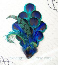 Peacock Headband - BLEU MEZZANINE - Ultra Luxe Bleu Teal Peacock and Pheasant - Choose Headband or Clip