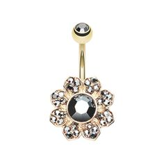 Black and Gold Avens Flower Sparkle Belly Button Ring Navel Ring Body Jewelry - BodyDazzle