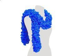 Handmade Royal Blue Ruffle Scarf Womens Fashion by craftcrazy4u