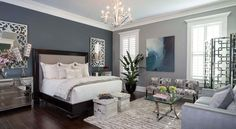 25 Beautiful Bedrooms with Accent Walls_dk blue and grey tone wall_love plant and chandelier