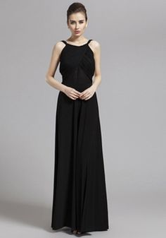 A line Scoop Floor Length Chiffon Natural Waist Evening Dress With Bowknot - 1300305875B - US$189.99 - BellasDress