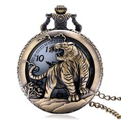 Hot shipping Bronze Tiger Hollow Quartz Pocket Watch Necklace Pendant Chinese Zodiac 12 Carving Back Womens Men GIfts Clock Necklace, Pocket Watch Necklace, Men Necklace, Necklace Chain, Pendant Necklace, Pocket Watch Mens, Vintage Pocket Watch, Quartz Pocket Watch, Quartz Watch