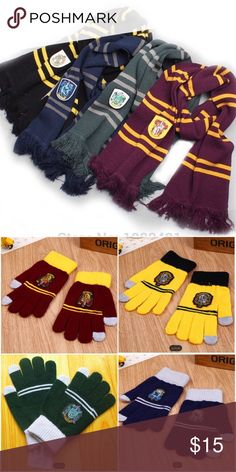 ⚡️HARRY POTTER SCARF/GLOVES ⚡️HARRY POTTER SCARF/GLOVES ~ Gloves have touch finger and thumb ~ Choose the scarf or gloves or make it a set ~ Price Firm unless bundled ~ Gryffindore/Slytherin/Hufflepuff/Ravenclaw #1001 🚫Trades or Holds ❤️Bundles Accessories Gloves & Mittens Harry Potter House Colors, Harry Potter Scarf, Mitten Gloves, Mittens, Harry Potter Accessories, Hogwarts Christmas, Slytherin And Hufflepuff, Scarf Hat, Fashion Design
