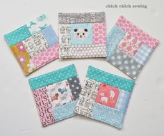 chick chick sewing: Patchwork coasters for gifts パッチワークのコースター作り Quilting Projects, Sewing Projects, Sewing Ideas, Scrap Busters, Fabric Coasters, Mug Rug Patterns, Sewing Material, Mug Rugs, Mini Quilts