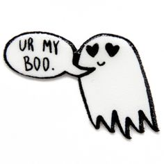"""Goth Cute """"Ur My Boo"""" Ghost Quote Lapel Pin in Black and White Funny... (€9,74) ❤ liked on Polyvore featuring jewelry, brooches, plastic jewelry, heart-shaped jewelry, black white jewelry, gothic jewellery and black and white jewelry"""