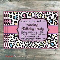 Birthday Party Invitation Cheetah Purple Pink by DigitalDriveIn, $15.00