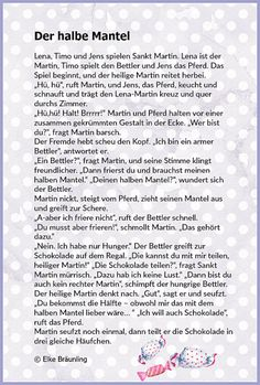 Half the coat * Elke& children& stories - Elke Braunling. Half the coat. Lena, Timo and Jens find out how sharing is when you play the Martin - Hl Martin, Learn German, Storytelling, Learning, Elke Bräunling, Mantel, Martini, Children Stories, Ursula