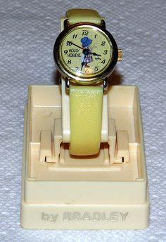 Vintage Holly Hobbie Novelty Manual Wind Watch by Bradley Time Company, Copyright 1972.