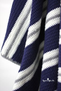 Crochet Patterns Blanket Crochet Bold Stripes Blanket - Repeat Crafter Me Crochet Afghans, Striped Crochet Blanket, Afghan Crochet Patterns, Crochet Stitches, Crochet Blankets, Baby Blankets, Baby Boy Crochet Blanket, Knitting Patterns, Baby Afghan Patterns