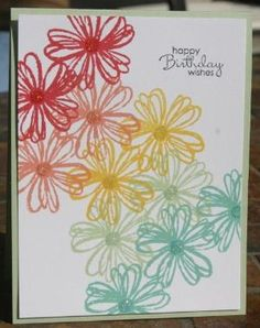 Stampin' Up Flower Shop Rainbow Card by chiniitOs14