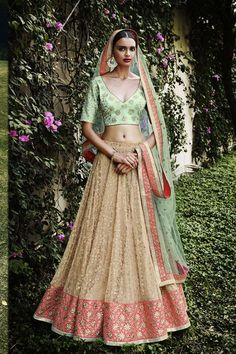 Hippily - Cream Net Designer Lehenga @ 9637 INR #variation