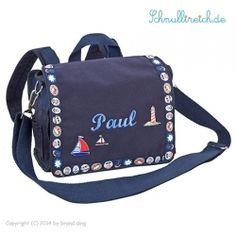 Rucksack-Tasche mit Namen Pirat (Blau)