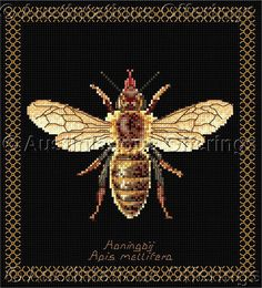Thea Gouverneur Bees on Black Cross Stitch Kit Honey Bee Beauty Vintage Rare Needlework Kits - Contemporary Stitchery Crafts