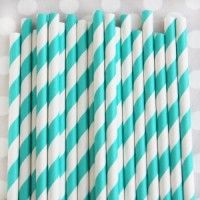Striped Paper Straws: Teal