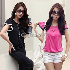 New Korean Women's Lady Casual Loose Flouncing Short Sleeve T Shirt Tops CAF8 | eBay US $7.99