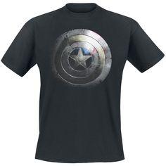 """Classica #TShirt uomo nera """"Silver Shield"""" di #CaptainAmerica con ampia stampa sul davanti dello scudo in versione argentata del famoso supereroe."""