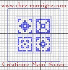Marque-pages cordon:  Mosaïques Bleues