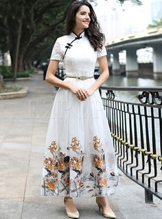 Shop for high quality Vintage Embroidery Improved Cheongsam Maxi Dress online at cheap prices and discover fashion at Ezpopsy.com