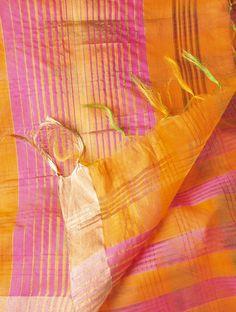 Buy Orange- Pink Stripes Cotton Silk Zari Dupatta by Ekaya Online at Jaypore.com
