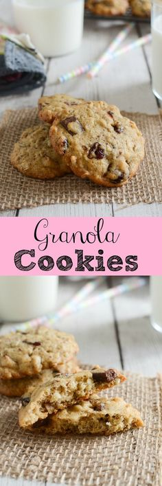Healthy and delicious Granola Cookies recipe. With flax seeds, cranberries, sunflower seeds, oats, and chocolate chunks.