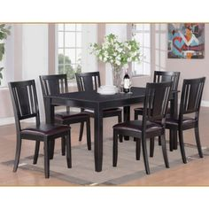 dudley table 36 in x and 4 leather seat chairs and long bench