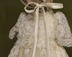 Lilliana ivory silk  alternate top and bonnet Christening gown set by Angela West Handcrafted Heirloom gown set
