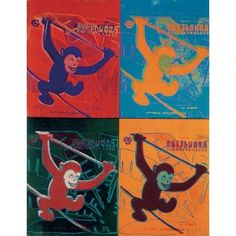 Andy Warhol-Four Monkeys (Lg)-1990 Poster, Multicolor