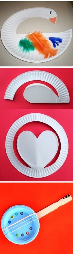 Simple, fun and perfect Mother Goose, Heart and Banjo Paper Plate Craft *** for the banjo.