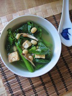 Chinese Broccoli and Tofu Soup. Where is the Brocoli?