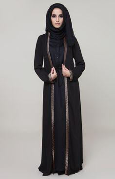 Golden Oud Open Jacket Lightweight front open jacket made from soft crepe with beautiful golden trim running down the front, compliments many Abayas and outfits and adds a touch of luxe to an evening ensemble. Muslim Women Fashion, Islamic Fashion, Womens Fashion, Abaya Mode, Mode Hijab, Abaya Designs, Modest Wear, Modest Outfits, Abaya Fashion