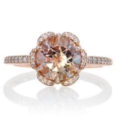 Rose Gold Morganite Ring 14K Diamond Halo Solitaire Morganite Engagement Anniversary Wedding Ring on Etsy, $940.00