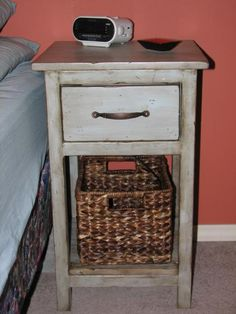 I want to make this!  DIY Furniture Plan from Ana-White.com  After making Ana's Farmhouse Bedside Table I realized that in my tiny bedroom I wouldn't get away with two pieces that big. That's when the Mini Farmhouse Bedside Table was born.