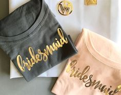 Bridal Party Shirts make the perfect gift for your bridesmaids and maid of honor - give them to your friends before a bachelorette party so the crew can travel in style! Each soft cotton jersey shirt has a scoop neck and printed with a bridal party title Bridal Party Shirts, Bachelorette Party Shirts, Bachelorette Ideas, Bachelorette Weekend, Bridesmaid Proposal, Bridesmaid Gifts, Bridesmaids, Bridesmaid Ideas, Brides Maid Shirts