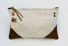 Image of Vintage lace clutch with brown leather corners. Adore.  From Made by Hank.